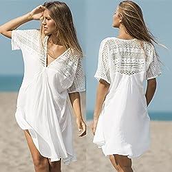 ShouYu El Resort Sun a Granel en Gran número de algodón Blanca Playa Vestido Sexy Traje de baño Bikini Cover-up Manto Chaqueta, una Talla Blanco