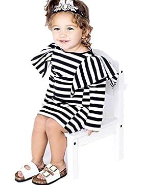 Amlaiworld kleid baby langarm gestreift drucken kleider Mädchen shirt Mode Prinzessin kleidung,1-4 Jahren