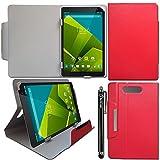 iTechCover® Universalbereich ( 9 Zoll ) Rote Multi Winkel Folio Executive Case Cover Wallet Hülle Schutzhülle für Hipstreet Pulse 9 Inch Tablet + Eingabestift