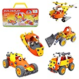 #9: MousePotato 5 in 1 Flexible Motor Vehicle 3D Model Building Kit with Tool Box Building Blocks Assembly Toy