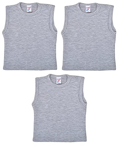 Baby Bucket Sleeveless White Thermal Wear Baby Vest Set of 3 (Grey, 9-12 Months)