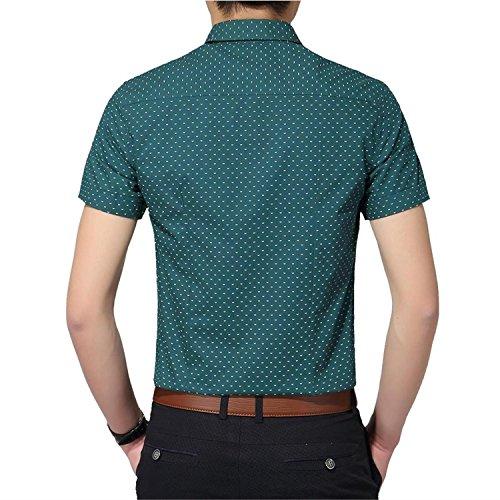 AIYINO Herren Freizeit Hemd Kariert Drucken Kontrast 100% Baumwolle Trachtenhemd K-Grün