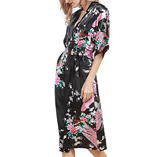 Desshok Pfau Nachthemden Frauen Sommer Bademäntel Cardigan Sexy Silk Nachtwäsche Kimono Pyjamas Farbe06