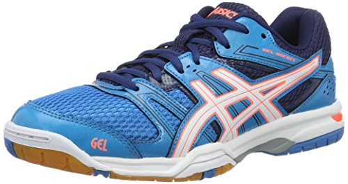 Asics Damen Gel-Rocket 7 Volleyballschuhe, Blau (Blue Jewel/White/Flash Coral), 40 EU
