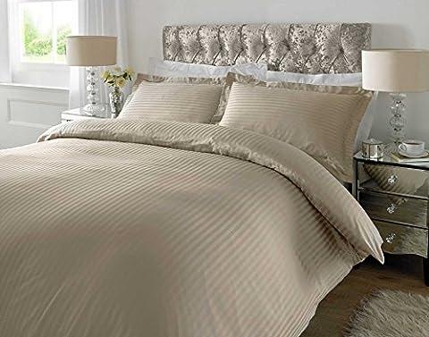 Luxury Premium Quality 300 TC 100% Cotton Sateen Stripe Humus Duvet Cover with Oxford Pillowcases (Double)