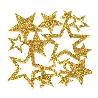 Mopec Posavasos de Fieltro con diseño de Estrellas en Purpurina Dorada, 1.5x10x10 cm, 6 Unidades