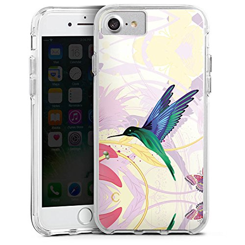 Apple iPhone 7 Bumper Hülle Bumper Case Glitzer Hülle Kolibri Vogel Bird Bumper Case transparent
