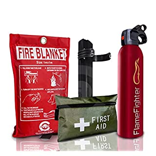 Introductory Offer on Fire Safety Pack. 600g Dry Powder Multi Purpose Fire Extinguisher + 1 M X 1M Fire Blanket + 42 pcs First Aid Kit. for Home Kitchen Taxi Caravans Boats Offices.