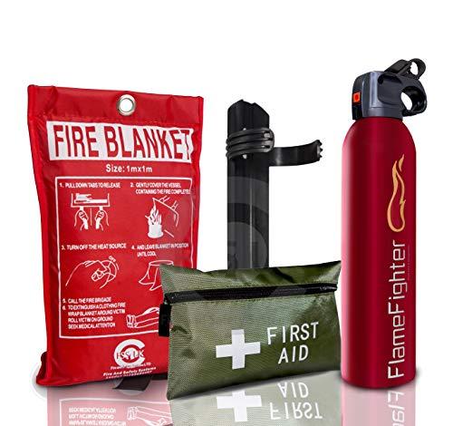 Offerta di lancio su 500ml + 42pezzi kit di primo soccorso + estintore fuoco coperta. Ideale per cucina casa taxi roulotte barche, ristoranti e uffici.