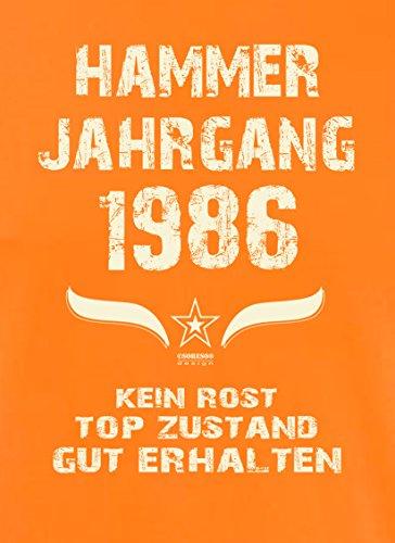 Geschenk zum 31. Geburtstag :-: Geschenkidee Herren Geburtstags T-Shirt mit Jahreszahl :-: Hammer Jahrgang 1986 :-: Geburtstagsgeschenk für Männer :-: Farbe: orange Orange