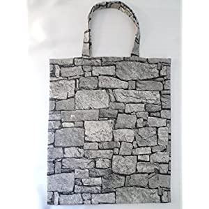 Mauer Stoff Tasche / Steine grau/ Umwelt Beutel / Unikat