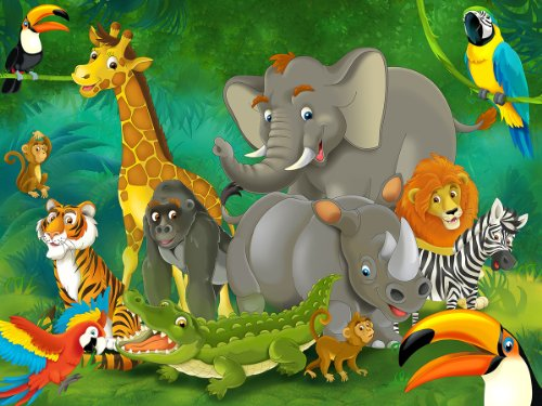 Poster Kinderzimmer Dschungel Tiere Wandbild Dekoration Jungle Animales Zoo Natur Safari Adventure Löwe Elefant Tierpark | Wandposter Fotoposter Wanddeko Wandgestaltung by GREAT ART (140 x 100 cm
