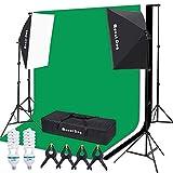 MOUNTDOG Fotostudio Set Beleuchtung Studioset 2X Softbox Kit 2X 135W Dauerlicht Birne 3X Baumwolle Kulisse (Weiß, Schwarz, Grün) Hintergrund Unterstützung Stand Boom für Fotoshooting Video Portrait