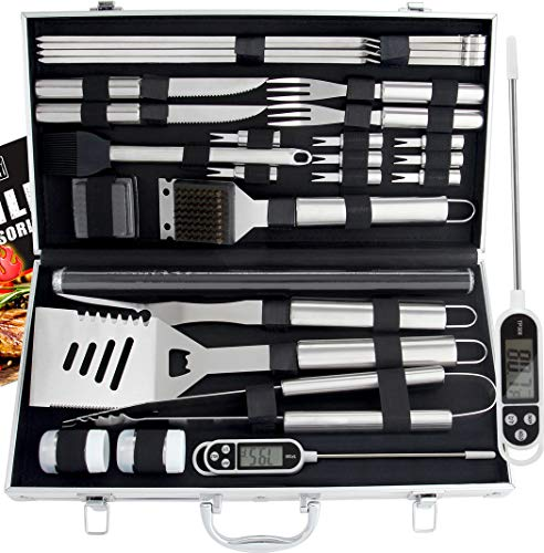 Romanticist 28Pcs Kit d'accessoires pour Barbecue à Griller - Accessoires de Barbecue en Acier Inoxydable pour Le Camping en Plein Air Barbecue - Cadeau d'anniversaire Idéal pour Papa