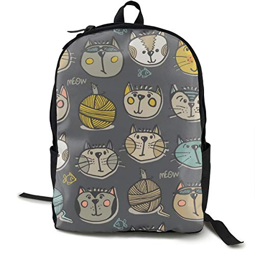 Cats Meow Charcoal Adult Premium Travel Backpack, Water-Resistant College School Bookbag, Sport Daypack, Outdoor Rucksack, Laptop Bag for Men&Women