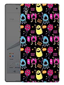 "Humor Gang Cute Monsters Printed Designer Mobile Back Cover For ""Sony Xperia Z5"" (3D, Matte Finish, Premium Quality, Protective Snap On Slim Hard Phone Case, Multi Color)"