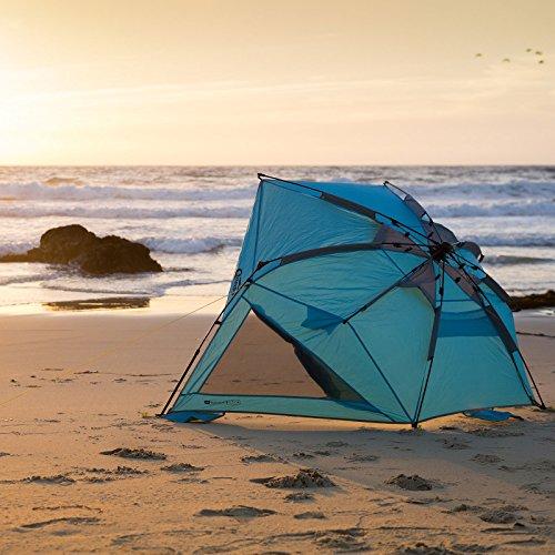 Sichtschutz, Windschutz, Strandmuschel: Qeedo Quick Shell Strandmuschel und Sonnenschirm Strandzelt mit UV-Schutz - blau