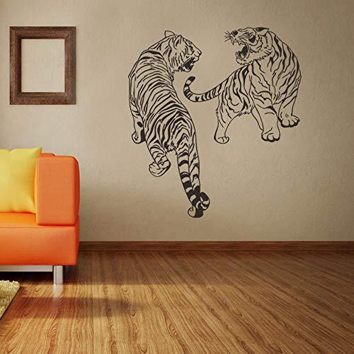 Pbldb Dos Gruñidos Tiger Etiqueta De La Pared Ferozmente Animal Vinyl Decal Extraíble Vintage WallpaperArteCreativostickers57X63Cm