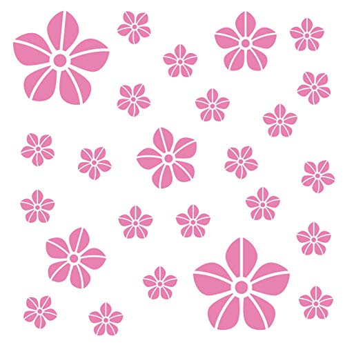 kleb-Drauf® | 25 Blumen | Rosa - matt | Autoaufkleber Autosticker Decal Aufkleber Sticker | Auto Car Motorrad Fahrrad Roller Bike | Deko Tuning Stickerbomb Styling Wrapping (Blume Auto Aufkleber)