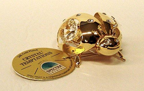 Gustav Lindner 4757 coccinella 55 x 45 mm Componenti Swarovski CRISTALLO TEMPTATIONS® realizzato con SPECTRA® CRISTALLO - 24 carati placcata in oro - antiappannante - Con ventosa, per esempio, per le finestre - confezionate singolarmente in una scatola regalo - Suncatcher con ventosa - collettori solari con ventosa