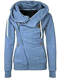 Newbestyle Women Spring Autumn Oblique Zipper Hoodies Sweatshirt Coat