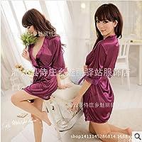 SUNZHENSexy lingerie plus size sexy prospettiva Nightgown carino in nero satinato,Bianco,entrambi