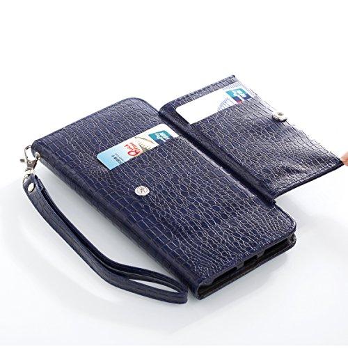 iPhone 7 Plus Hülle, [Crocodile Pattern] PU Handschlaufe Flip Wallet Cover Etui in Book Style Stand Case Card Slot Leder Tasche Case Karteneinschub Magnetverschluß Kratzfestes und Schmutzunempfindlich blau