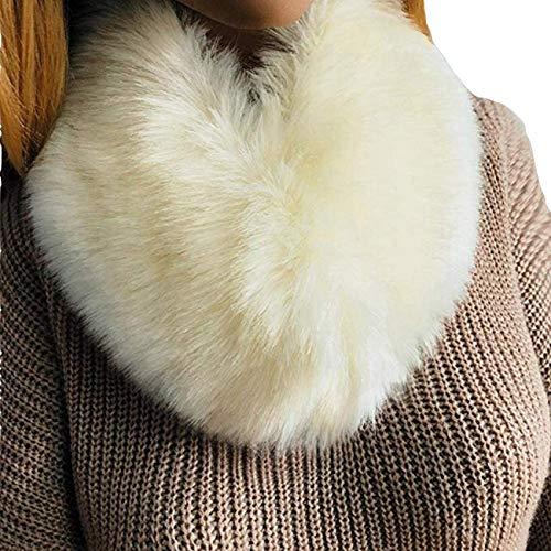 PICCOLI MONELLI Collo pelliccia bianco sintetica per cappotti con pelliccetta eco pelliccia effetto molto reale