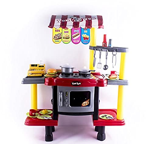 deAO 2in1 Kids Kitchen & Fast Food Shop Stand Kitchen Play Set for Role Play Game Includes Accessories