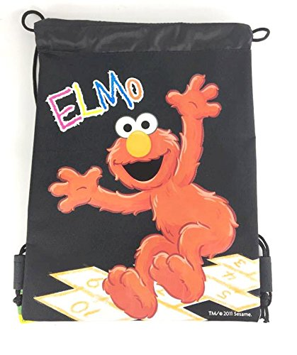 Sesame Street Elmo 25,4x 35,6cm Kordelzug Rucksack Heavy Duty Nylon Tasche Farbe (Baby Blau, Pink), schwarz