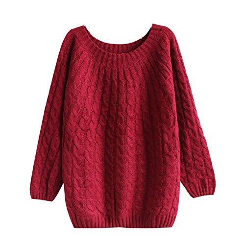 Molly Donna Studente Stile Allentato Girocollo Pullover Maglione Vino Rosso