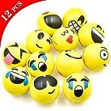 cococity 63MM Anti-Stress Palla, 12 Pezzi Emoji Palla Sorridente Kawaii Squishy in PU per Adulti e Bambini