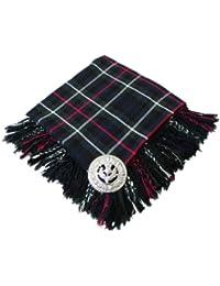 Tartanista Hombres de cuadros Highland Fly Plaid con broche de Cardo escocés