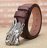 WRH Belts Man Retro-Stil Dornschließe Gürtel 100% Leder Kupfer Dragon Pattern Schnalle Metall Gürtel,Coffeesilverbuckle