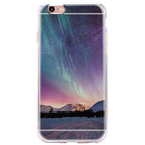 vanki® iPhone 6/6s hülle Tasten Nature Schutzhülle Clear Case Cover Bumper TPU Silikon Handyhülle für iPhone 6/6s (4,7 Zoll) (Crescent Moon) Aurora