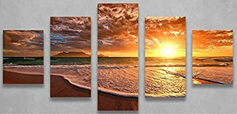 OBELLA New Top Wall Art Canvas Prints 5 Pieces || Sea Sunset Waves || Modern Contemporary Posters Oil Paintings Prints and Pictures Photo Image Wall Art Prints on Canvas Painting for Home Bedroom Living Room Wall Decor Christmas Gifts Decoration - Frameless