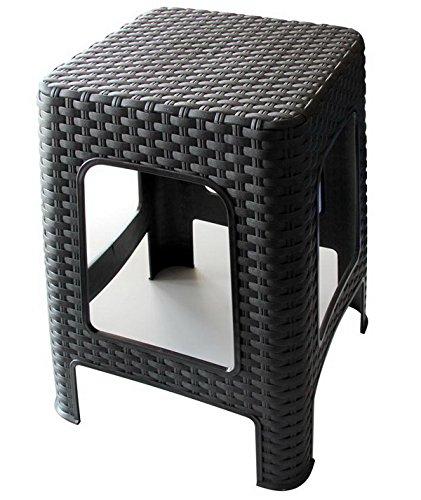 Hoffmanns Sitzhocker 28 x 28 cm Sitzfläche im edler Rattanoptik, 45 cm hoch (Standfläche 35 x 35 cm) … (Schwarz)