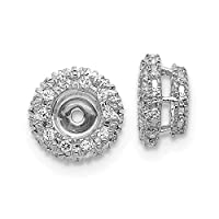 8mm 14ct White Gold Diamond Earrings Jacket Jewelry Gifts for Women