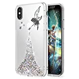 Coque iPhone X,Étui iPhone X,iPhone X Case,ikasus Coque iPhone X Silicone Étui Housse Téléphone Couverture TPU avec Glitter Bling Pétillant Brillant Briller étincelle Étoile l'ange Fille Star Angel girl Modèle Ultra Mince Premium Semi Hybrid Crystal Clear Flex Soft Skin Extra Slim TPU Case Coque Housse Étui pour Apple iPhone X - Ange:Argent