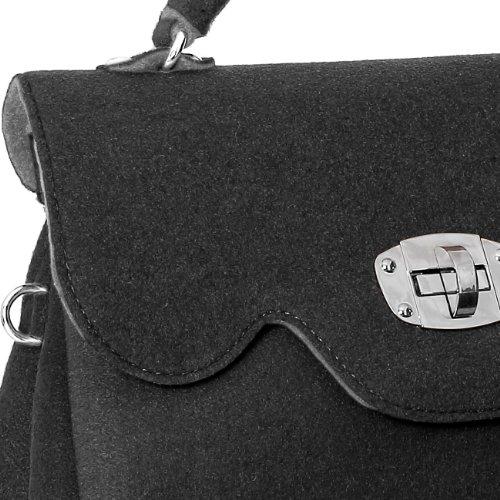 CASPAR Damen Tasche Filztasche mit kurzem Henkel und Schultergurt MADE IN ITALY - viele Farben - TS588 schwarz