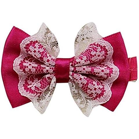 Koly Clips de pelo del Bowknot de la niña linda de encaje de horquilla Niño Accesorios para el cabello (color de rosa caliente)