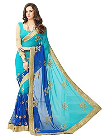 Panchratna Women's Embroidered Blue-Coding Georgette Saree With Blouse Material