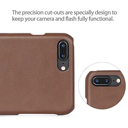 Coque pour iPhone 7 Plus TSCASE Rouge Bordeaux de Protection Détachable Coque pour iPhone 7 Plus 5.5 pouces Brun