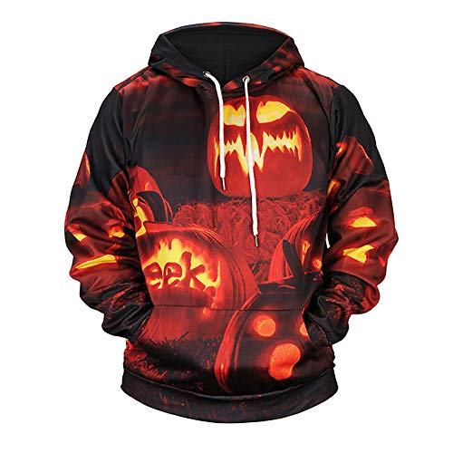 Halloween Pullover Herren Lässige Scary Sweatshirts Kürbis 3D Print Party Kapuzenpullover Langarm...