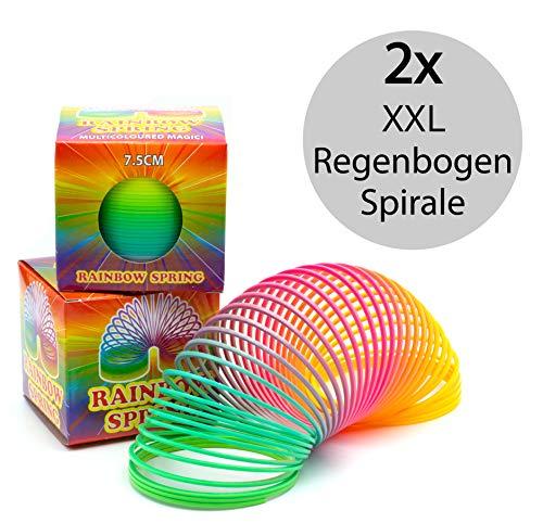 Regenbogenspirale groß XXL im 2er Set | PREMIUM QUALITÄT | 7,5 cm Ø | bunte magische Treppenläufer Slinkys in Neonfarben | ideal geeignet für den Kindergeburtstag als Mitgebsel für Mädchen und Jungen