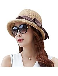 SiggiHat Ladies Summer Sun Hats Women Floppy Panama Straw Beach Hats Foldable Rolled Short Brim - UPF 50 - Packable & Adjustable(55-58CM)