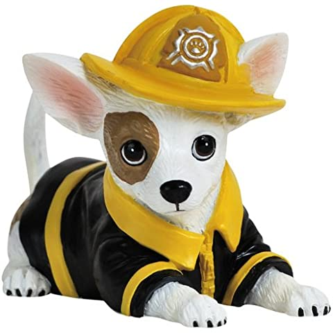 Fireman Chief Fire Pup-Statuetta cane Chihuahua 7,62 cm (3