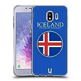 Head Case Designs Isländische Fahne Fahnen Flicken Soft Gel Hülle für Samsung Galaxy J4 (2018)