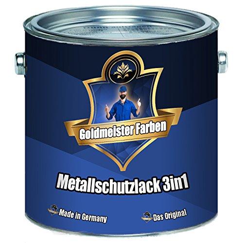 Goldmeister Farben Metallschutzlack 3in1 hochwertige Metallschutzfarbe 3-in-1 Farbauswahl Metallschutz-Lackfür den Innen- und Außenbereich von Metall, Eisen, Zink, Aluminium und Stahl