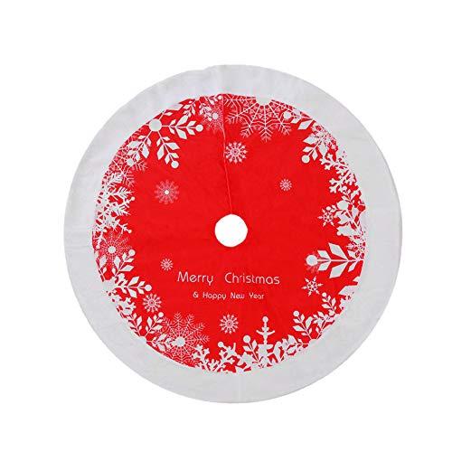 Deko runde Filz-Baumdecke Schutz vor Tannennadeln Tannenbaum Schneeflocke Unterlage mit Weihnachtsmotiv Weihnachtsbaum Rock Weihnachtsbaum Bodendekoration Weihnachtsdekorationen Baumschmuck 122cm